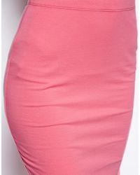 ASOS - Pink Midi Pencil Skirt in Jersey - Lyst
