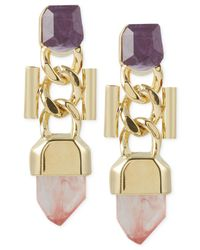 French Connection   Metallic Gold-Tone Curb Chain And Stone Drop Earrings   Lyst