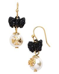 Tory Burch | Metallic 'evie' Faux Pearl Drop Earrings | Lyst