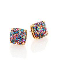 kate spade new york - Metallic Glitter Square Stud Earrings/Multicolor - Lyst