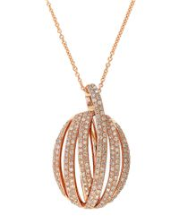 Effy - Metallic Diamond And 14K Rose Gold Pendant Necklace, 0.83 Tcw - Lyst