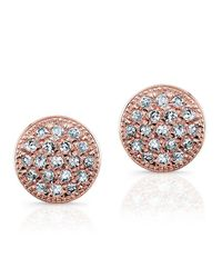 Anne Sisteron - Pink 14kt Rose Gold Diamond Mini Disc Stud Earrings - Lyst