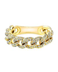 Anne Sisteron | 14k Yellow Gold Diamond Thin Chain Link Ring | Lyst