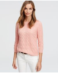 Ann Taylor - Pink Cashmere Cable Sweater - Lyst