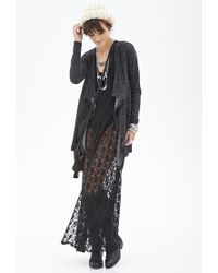 Forever 21 | Black Marled Open-front Cardigan | Lyst