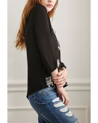 Forever 21 | Black Paisley-embroidered Peasant Top | Lyst