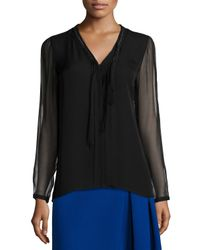Elie Tahari - Black Emmy Long-sleeve Tie-neck Blouse - Lyst