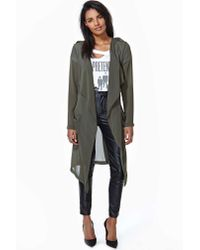 Nasty Gal | Gray Sheer Desire Trench Cardi Olive | Lyst