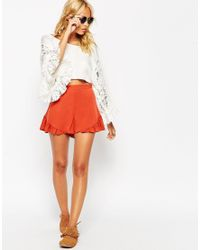 ASOS | Orange Going Out Woven Shorts With Frill Hem | Lyst