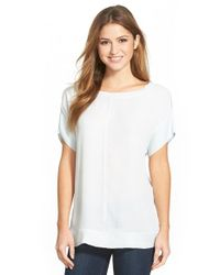 Halogen | White Woven Front Rib Trim Tee | Lyst