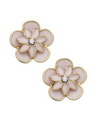 kate spade new york | Pink New York Gold Tone Enamel and Crystal Flower Stud Earrings | Lyst