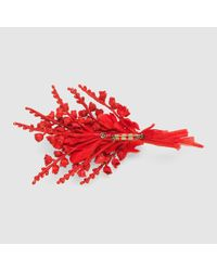 Gucci - Red Flower Brooch In Silk And Cotton - Lyst