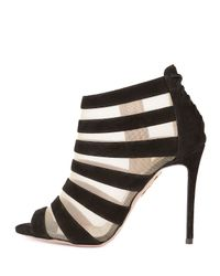 Aquazzura | Beige Wild Side Suede and Mesh Sandals | Lyst