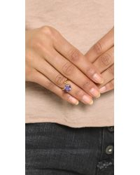 Bijules | Metallic Phalange Brilliant Cut Amethyst Ring - Amethyst/gold | Lyst