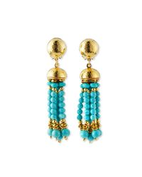 Jose & Maria Barrera - Blue Clip-on Turquoise Beaded Tassel Earrings - Lyst