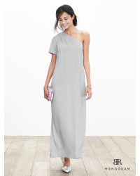 Banana Republic | Metallic Br Monogram Silk One-shoulder Dress | Lyst