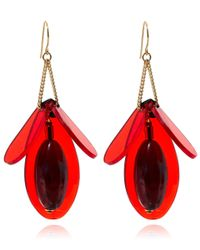 Marni - Red Petal Earrings - Lyst