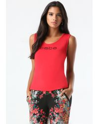 Bebe | Red Logo Cutout Back Tank | Lyst