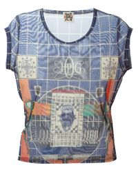 Jean Paul Gaultier | Blue Jpg Sheer Print Top | Lyst