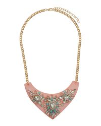 Mikey | Pink Flat V Base With Stone Flowers Necklace | Lyst