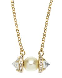 Rebecca Minkoff - Metallic Gold-Tone Faux Pearl Pendant Necklace - Lyst