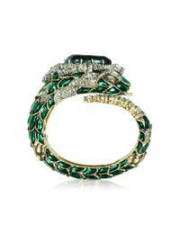Roberto Cavalli - Emerald Green Crystals And Enamel Snake Bracelet - Lyst