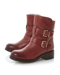 Dune Black | Red Peggy Double Buckle Leather Calf Boots | Lyst