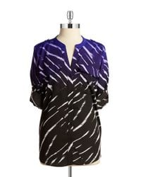 Calvin Klein | Purple Patterned Button-front Blouse | Lyst