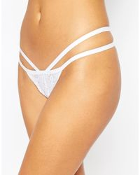ASOS - White Lace Mary-jane Thong - Lyst