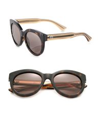Gucci | Brown Chunky 53mm Round Sunglasses | Lyst