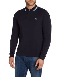 Fred Perry | Blue Long Sleeved Twin Tipped Polo Shirt for Men | Lyst