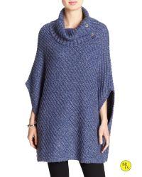 Banana Republic | Blue Factory Cowl-neck Sweater Cape | Lyst