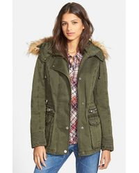 Guess - Green Hooded Cotton Field Jacket With Faux Fur Trim - Lyst