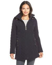 Gallery | Blue Hooded Quilted Coat | Lyst