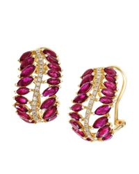 Effy | Red Ruby, Diamond And 14k Yellow Gold Earrings | Lyst