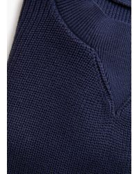 Mango - Blue Ribbed Cotton-blend Sweater - Lyst