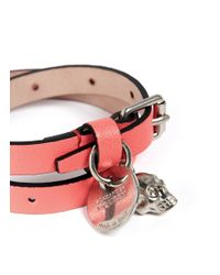 Alexander McQueen - Pink Double Wrap Leather Bracelet - Lyst