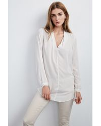 Velvet By Graham & Spencer - White Sarafina Challis Tunic Blouse - Lyst