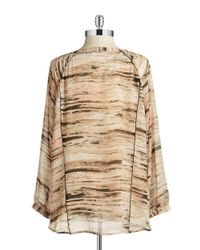 Calvin Klein | Brown Plus Graphic Peasant Top | Lyst