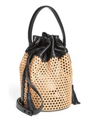 Loeffler Randall - Black 'industry Handheld' Openwork Leather Bucket Bag - Lyst