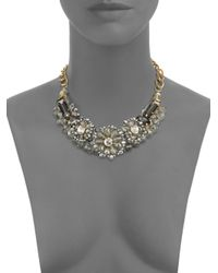 Saks Fifth Avenue - Metallic Jeweled Flower Plaque Necklace - Lyst