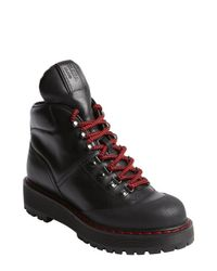 Prada - Black And Red Leather High Top Boots - Lyst