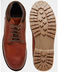 ASOS - Brown Lace Up Boots In Tan Leather for Men - Lyst