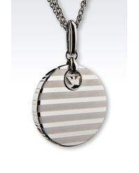 Emporio Armani - Metallic Necklace In Steel And Crystals - Lyst