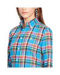 Polo Ralph Lauren - Blue Plaid Cotton Twill Shirt - Lyst