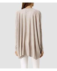 AllSaints - Gray Silk Itat Shrug - Lyst