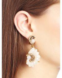 Oscar de la Renta - Metallic Resin Swirl Scalloped Earrings - Lyst