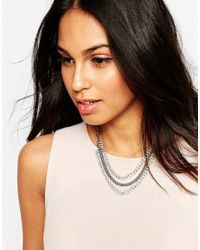Lipsy | Metallic Two Row Necklace | Lyst