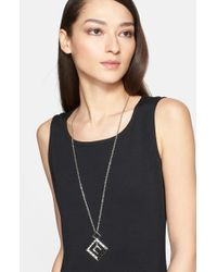 St. John - Long Crystal Detail Pendant Necklace - Rhodium/ Jet Black Crystal - Lyst
