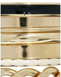 River Island | Metallic Gold Black White Clean Bangle Pack | Lyst